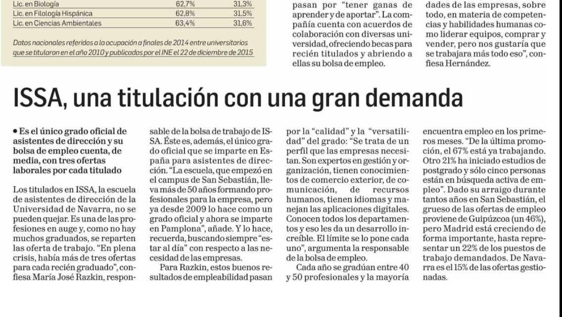 Artículo El Diario de Navarra sobre ISSA School of Management Assistance
